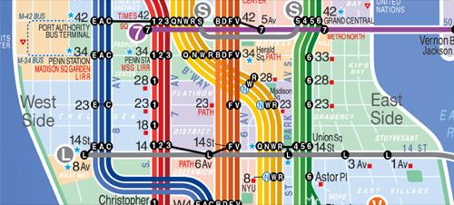 La carte des Metro de New York