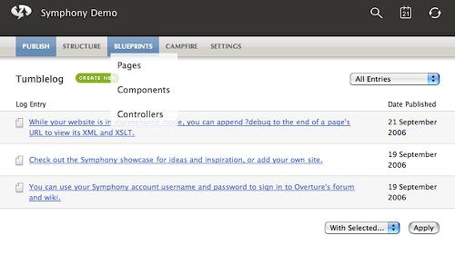 L'interface administrateur de Symphony