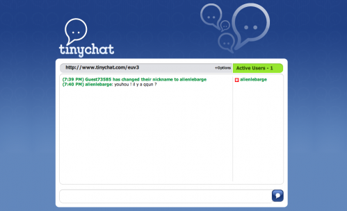 Une capture d'écran du site TinyChat