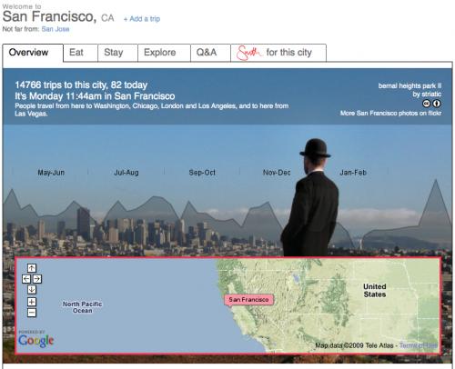 La page Dopplr de San Francisco
