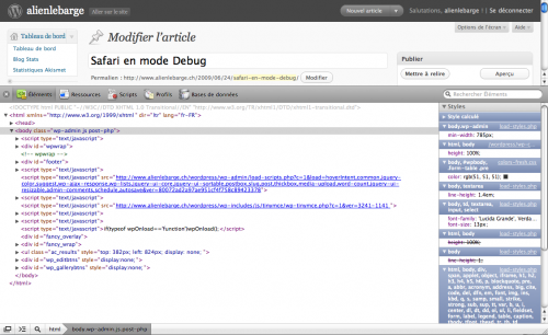 Safari en mode debug